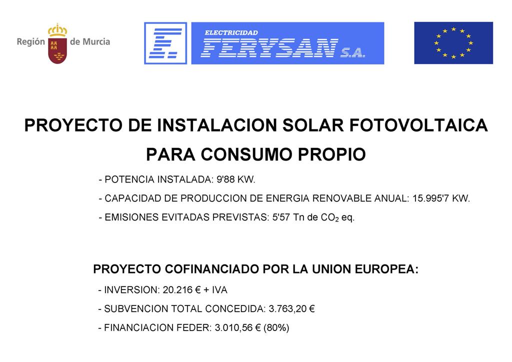 Instalacion de placas solares en Electricidad Ferysan